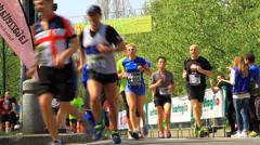 Milan Marathon Runners Stock Footage