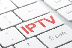 SEO web design concept: IPTV on computer keyboard background Stock Illustration