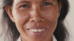 37of62 Portrait of asian woman looking at camera, people emotions - stock footage