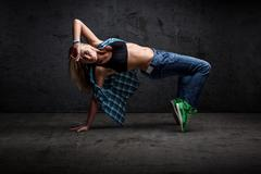 Girl dancing hip hop Stock Photos