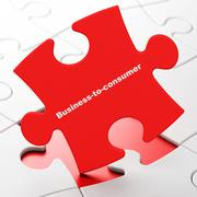 Finance concept: Business-to-consumer on puzzle background Stock Illustration