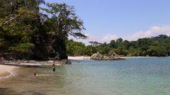 Manuel Antonio National Park, pristine tropical beach Stock Footage