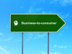 Business concept: Business-to-consumer and Head With Finance Symbol on road sign Stock Illustration