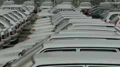Rows of unsold new cars produced in Russia Stock Footage