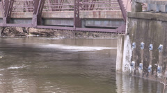 Raging flood river in spring Stock Footage