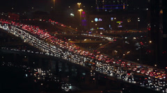 Rush hour roads at night in central business district , Beijing, China Stock Footage