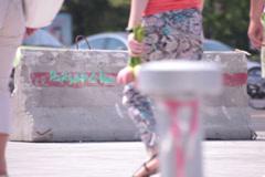 Flowery trousers long legs beautiful brunette walking Stock Footage