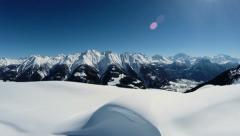 Aerial view of snow mountains. snow winter landscape Stock Footage
