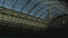St Pancras station interior with single passenger Stock Footage