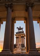 Alfonso xii monument in buen retiro park, madrid Stock Photos