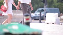 Couple walking street Stock Footage