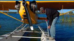 Piper J-3 Cub on Floats PreFlight Stock Footage