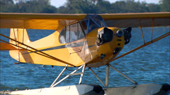 Piper J-3 Cub on Floats Taxi Stock Footage