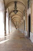 Arches in Praca do Comercio Stock Photos