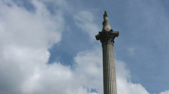Trafalgar Square tilt down Nelsons Column Stock Footage