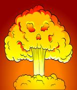 nuclear explosion - stock illustration