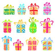 Set of holiday presents Stock Illustration