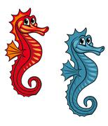 funny seahorse - stock illustration