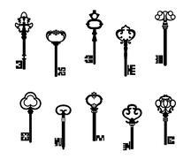 Old antique keys Stock Illustration