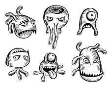 scary monsters and mutants - stock illustration