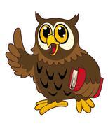 Cartoon owl bird with book Stock Illustration