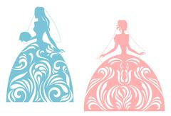 young bride silhouette - stock illustration