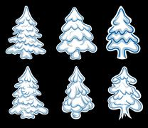 Set of chistmas pines Stock Illustration