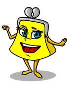 Yellow cartoon purse Stock Illustration