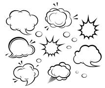 Cartoon clouds and explosions Stock Illustration