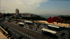 Time lapse .  view from above. tram terminus in Jerusalem Stock Footage