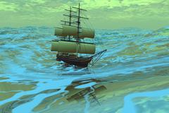 Following sea Stock Illustration
