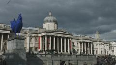 Trafalgar Square featuring National Gallery and Blue Cock Stock Footage