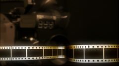 Filmstrip in lower thirds with diffused camera background Stock Footage