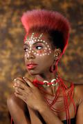 Expressive african american woman with dramatic lighting Stock Photos