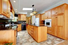 kitchen furniture set with white appliances - stock photo