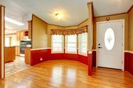 House interior with red wood plank wall trim Stock Photos