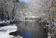 Winter river scene Stock Photos