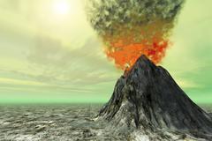 sulfur skies - stock illustration