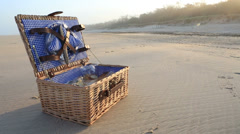 Picnic basket on the beach Stock Footage