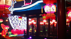 Chinese park at night during the Spring Festival Stock Footage