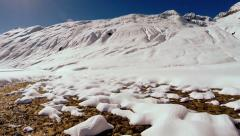 Snow melting. spring is coming. winter landscape Stock Footage