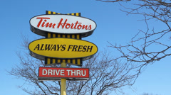 Tim Hortons sign. Stock Footage