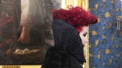 Portrait of Baroness in baroque salon Stock Footage