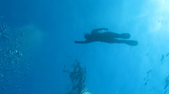 Free-diver (silhouette), yacht, sea, sun Stock Footage