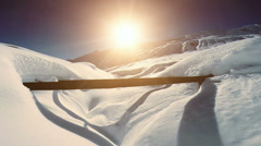 snowcapped winter landscape. snow covered mountains. aerial view. fly over - stock footage