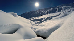 winter landscape. snow covered mountains. aerial view. fly over - stock footage