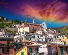 Quaint Village of Vernazza, Cinque Terre. Beautiful colorful hom Stock Photos