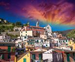 Stock Photo of Quaint Village of Vernazza, Cinque Terre. Beautiful colorful hom