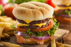 beef cheese hamburger with lettuce tomato - stock photo