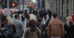 Crowd of people walking crossing on a New York City street Stock Footage